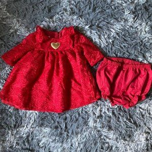 Baby Girls Red Lace Dress 3-6 months